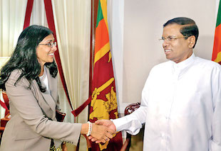 U.S. Assistant Secretary of State for South and Central Asian Affairs Nisha Biswal meets Sri Lankan President Maithripala Sirisena | Credit: ft.lk