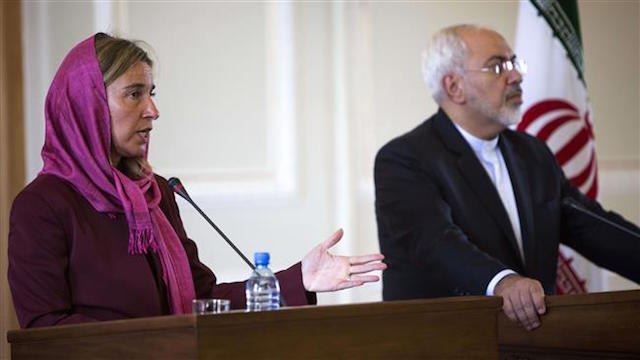 Mogherini at a press conference with Iranian Foreign Minister Zarif in Tehran in July 2015 Credit: Press TV