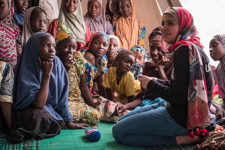 Photo: UNICEF's youngest Goodwill Ambassador Muzoon Almellehan in Chad. Credit: UNICEF UK.