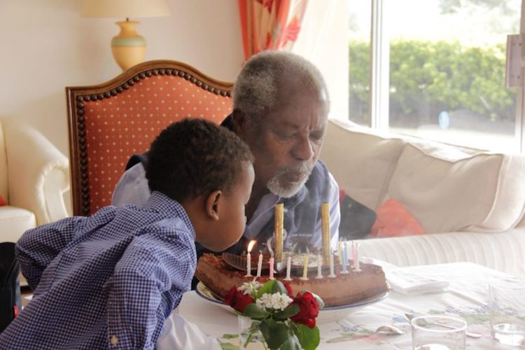 Photos: (Top) Kofi Annan blows out the candles on his 80th birthday, with help from his grandson Atta. Credit: Kofi Annan Foundation.