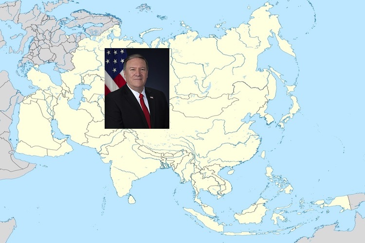 Image: The United States believes Sri Lanka could prove to be important for its Indo-Pacific strategy.US State Secretary Mike Pompeo on location map of Asia. Source: Wikimedia Commons.
