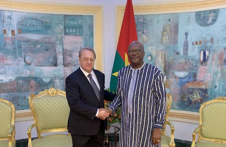 Photo: Deputy Foreign Minister Mikhail Bogdanov with Burkina Faso President Marc Kabore in Ouagadougou in July 2019. Credit: The Ministry of Foreign Affairs of the Russian Federation
