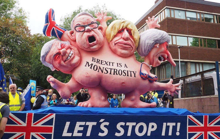 Top Photo by Robert Mandel: Boris Johnson as one of the figures satirised on a float created by anti-Brexit protesters in Manchester. CC BY 4.0