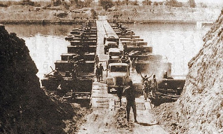 Image:  Egyptian forces cross the Suez Canal at the start of the Yom Kippur War | CIA Image:  Egyptian forces cross the Suez Canal at the start of the Yom Kippur War | CIA