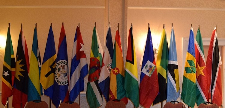 Photo: Flags of CARIFORUM Member States. Credit: SKNIS