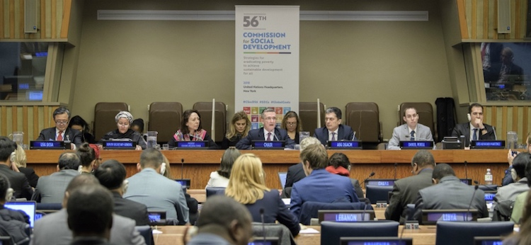 Photo: Opening session of the fifty-sixth session of the Commission for Social Development. Credit: UN