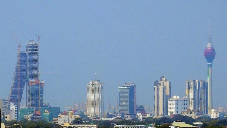 Photo: Colombo skyline in November 2017. Tallest buildings from left to right: Altair, Hilton Residence, Access Tower II, Empire Towers, Parkland Building (short white building), OnThree20, Lotus Tower. CC BY-SA 4.0