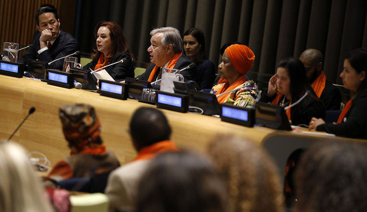 Photo: (L-R) Moderator, news anchor Richard Lui; Maria Fernanda Espinosa Garces, President of the General Assembly; António Guterres, UN Secretary-General; and Phumzile Mlambo-Ngcuka, UN Women Executive Director participate in a panel discussion during the UN . Photo: UN Women/Ryan Brown