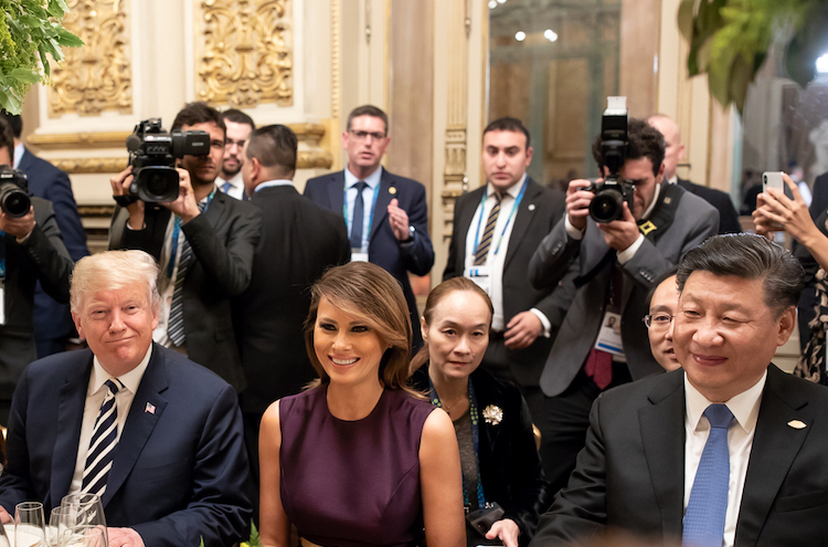 Photo (l to r): President Donald J. Trump and First Lady Melania Trump with Chinese President Xi Jinping on November 30, 2018 at the Teatro Colon in Buenos Aires, Argentina. (Official White House Photo by Andrea Hanks | cropped version)