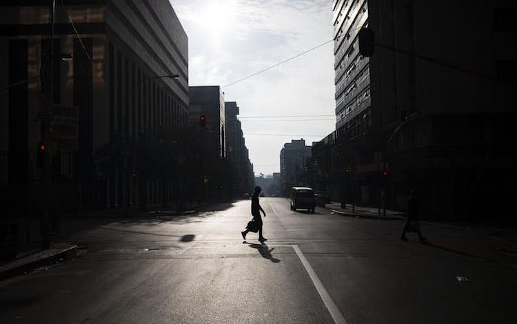 Photo: Downtown Johannesburg is deserted. Credit: Kim Ludbrook/EPA