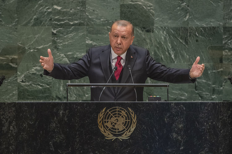 Photo: Recep Tayyip Erdogan, President of the Republic of Turkey, addresses the general debate of the General Assembly's 74th session on 24 September 2019 at the United Nations in New York. UN Photo/Cia Pak