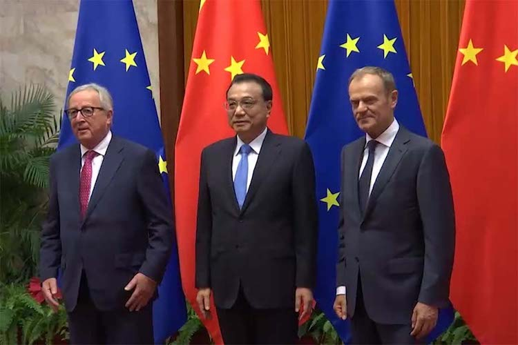 Photo (left to right): President of the European Commission Jean-Claude Juncker, China's President Xi Jinping, and President of the European Council Donald Tusk.  Credit: European Union