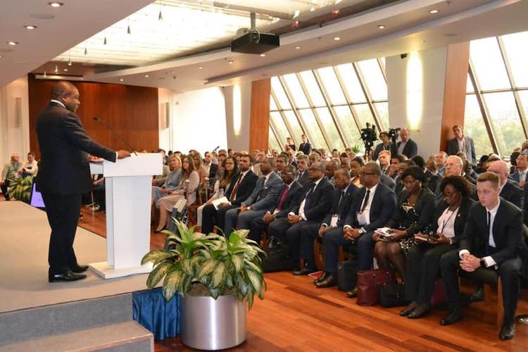 Photo: President Filipe Nyusi addressing the Russian-Mozambique Business Forum on 21 August 2019 on Moscow. Credit: World Trade Center.