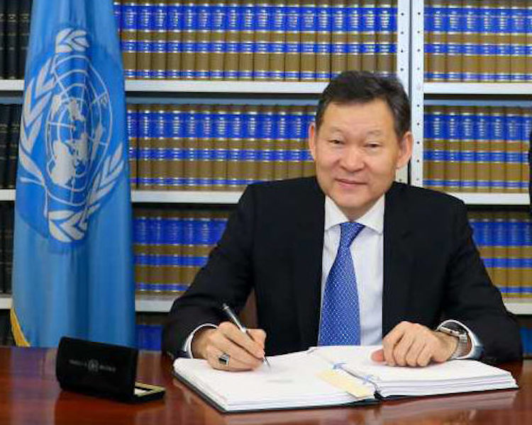Photo: Ambassador Kairat Umarov, Kazakhstan's Permanent Representative to the UN, signing the Nuclear Ban Treaty on March 2. Credit: Abolition2000