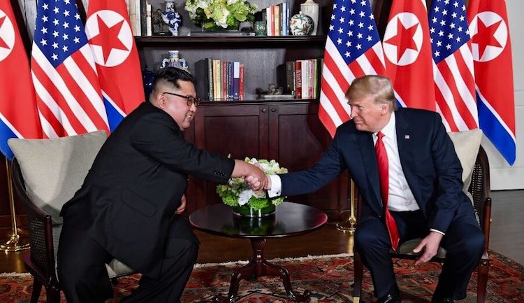 Photo: Kim and Trump before the start of their one-on-one meeting. Credit: Wikimedia Commons.