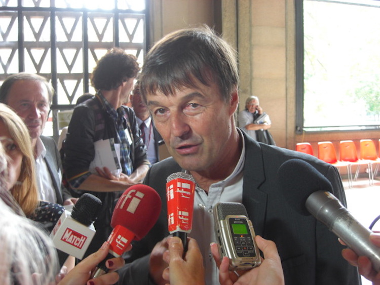 Photo: Nicolas Hulot speaking at a previous Paris conference before becoming environment minister. Credit: A.D. McKenzie