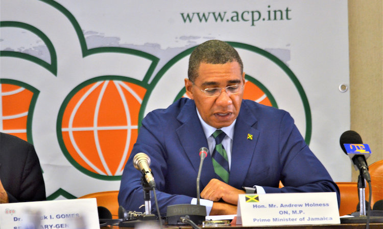 Photo: Jamaican Prime Minister Andrew Holness addressing the ACP Committee of Ambassadors in Brussels on 16 April 2018. Credit: ACP.