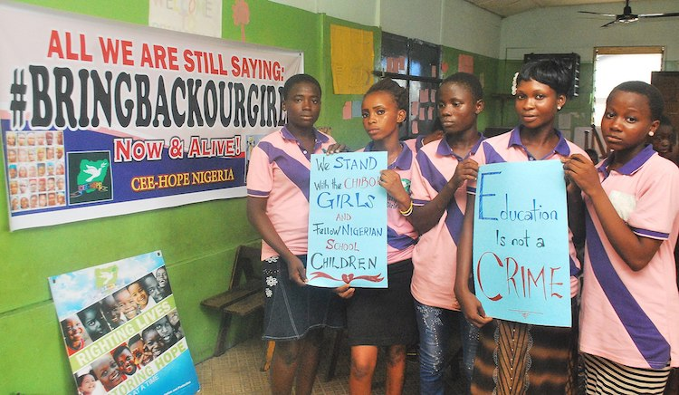 Photo: An event to commemorate the first anniversary of the abduction of Chibok schoolgirls in northern Nigeria held by CEE-HOPE in Makoko, Lagos Nigeria. CC BY-SA 4.0