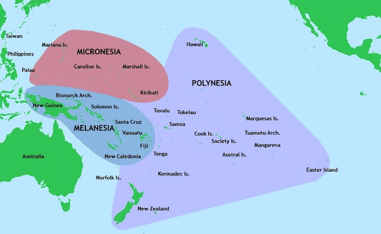 Image: Three of the major groups of islands in the Pacific Ocean. Credit: Wikimedia Commons