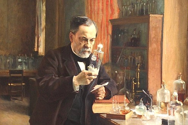 Photo: Louis Pasteur a French biologist, microbiologist, and chemist renowned for his discoveries of the principles of vaccination, microbial fermentation and pasteurization, in his laboratory. Painting by A. Edelfeldt in 1885. Public Domain.