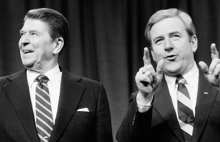 Photo: Fundamentalist Jerry Falwell, founder of the Moral Majority, a political-action organisation to mobilise religious conservatives, with President Ronald Reagan. Credit: Salon.com