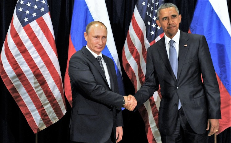 Photo: Vladimir Putin meets with U.S. President Barack Obama in New York City, 29 September 2015. CC BY 4.0