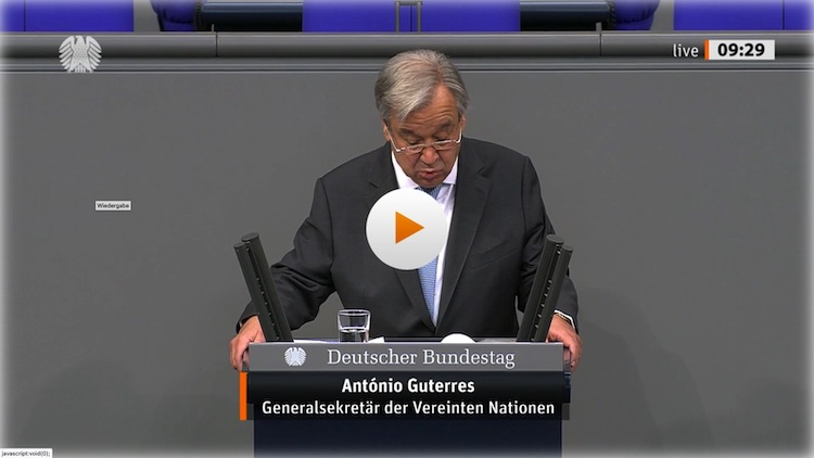 Photo: UN Chief addressing German Parliament. Credit. German Parliament/Schacht.