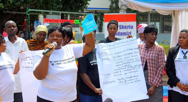 Photo: Women taking part in a demonstration to oppose sextortion in Dar es salaam in 2018. Credit: Edwin Mjwahuzi