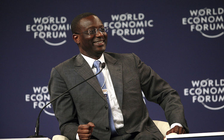 Photo: Tidjane Thiam speaking at the World Economic Forum in Dalian, China, 2011. CC BY-SA 2.0