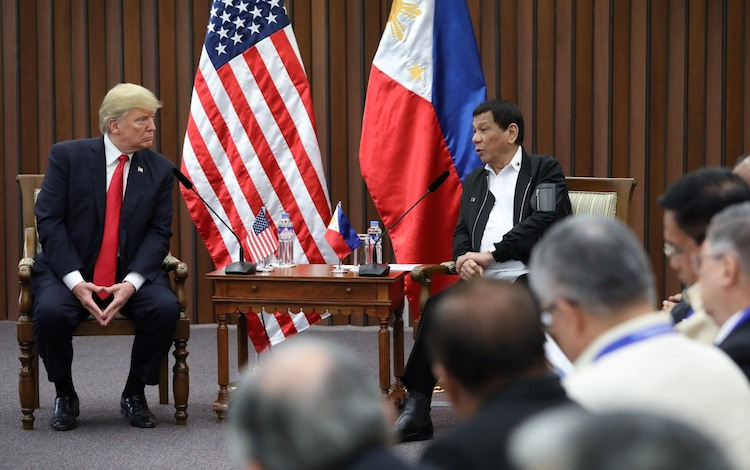 Photo: President Duterte and US President Donald Trump discuss matters during a bilateral meeting at the Philippine International Convention Center in Pasay City on November 13, 2017. ROBINSON NIÑAL JR./PRESIDENTIAL PHOTO