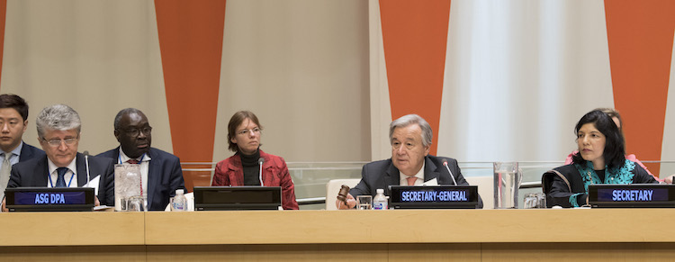 Photo: UN Secretary-General António Guterres (second from right) at the 2018 opening session of the General Assembly's Committee on the Exercise of the Inalienable Rights of the Palestinian People on 5 February 2018. Miroslav Jenča, Assistant Secretary-General for Political Affairs (left at the table) attended the meeting. Credit: UN Photo/Eskinder Debebe