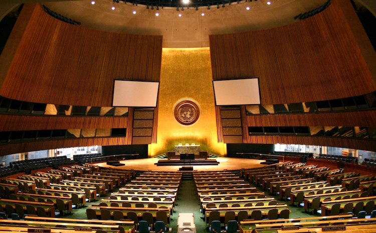 Photo: United Nations General Assembly hall in New York City. Credit: Wikimedia Commons.