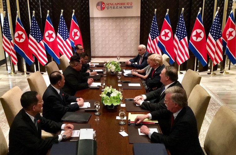 Photo: The expanded bilateral meeting between both the United States and North Korean delegations on June 12 in Sentosa. Credit: Wikimedia Commons.
