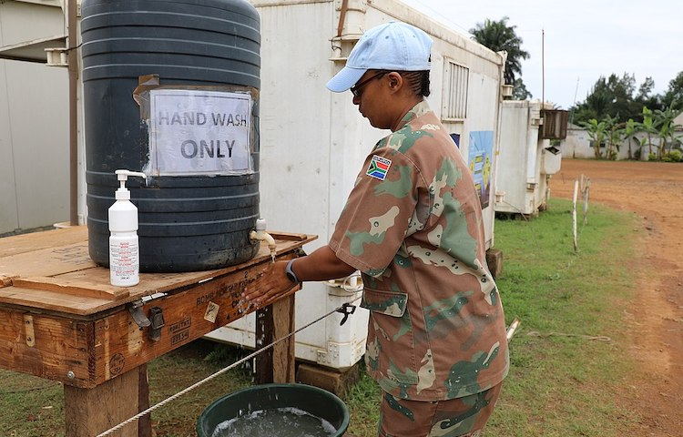 Photo: In the DRC, the MONUSCO Force Intervention Brigade has taken measures to boost hygiene to help slow the spread of the virus. CC BY-SA 2.0