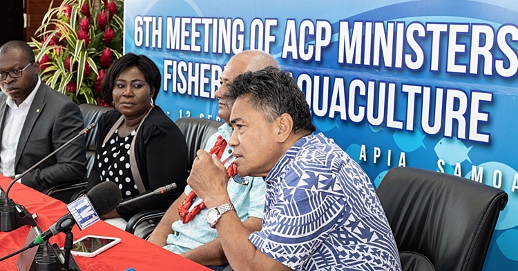 Photo: A press conference was held at the conclusion of the 6th Meeting of ACP Ministers in charge of Fisheries and Aquaculture on 13 September to highlight the ACP Secretariat contribution to its members. Source: Samoa Observer | Vaitogi Asuisui Matafeo.