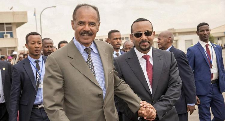 Photo: Eritrean Prime Minister Afwerki (left) and his Ethiopian counterpart Ahmed in Asmara. Credit: africanews.