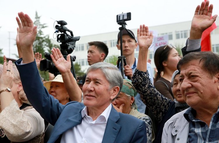 Photo: Former President Almazbek Atambayev (left) at a rally in his support. His immunity from prosecution has been removed by 103 votes out of a possible 109. | Source: Facebook / Almazbek Atambayev.