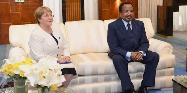 Photo: Michelle Bachelet, the United Nations High Commissioner for Human Rights, with President Paul Biya of the Cameroon.