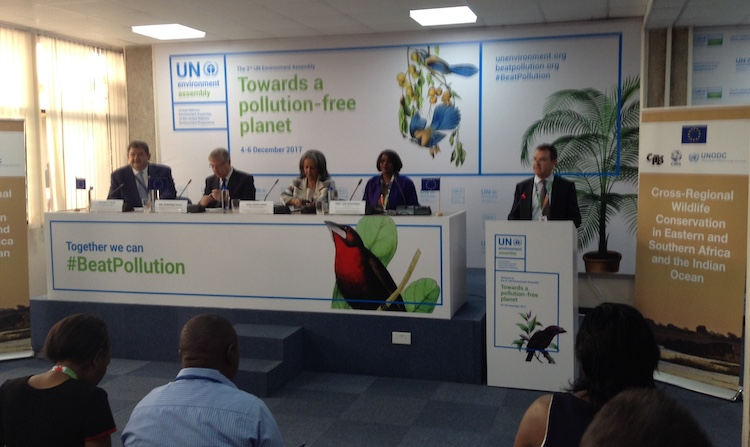 Photo: EU and UN officials flanked by Kenya's Environment Cabinet Secretary Judi Wakhungu (first from the right among the seated officials) during the signing of Euro 17.2 million from the EU to fund initiatives to combat wildlife killing and trafficking in Africa. Credit: Justus Wanzala | IDN-INPS.