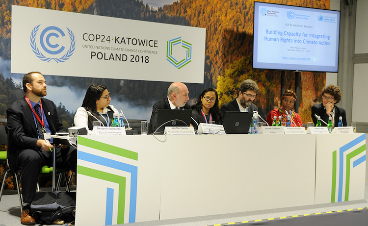 Photo (L-R): Benjamin Schachter, OHCHR; Jennifer Hanna, PCCB; Ambassador Luis Alfonso de Alba, UN Secretary General Special Envoy for the 2019 Climate Summit; Verona Collantes, UN Women; Michael Windfuhr, German Institute for Human Rights; Agnes Leina, Illaramatak Community Concerns; and Sébastien Duyck, Center for International Environmental Law (CIEL). Credit: IISD.