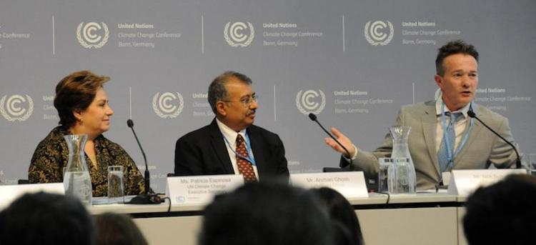 Photo (left to right): UN Climate Change Executive Secretary Patricia Espinosa; Anirban Ghosh, Chief Sustainability Officer of the Mahindra Group; and Nick Nuttall, Global Climate Action Summit Communications Director. Credit: UNFCCC