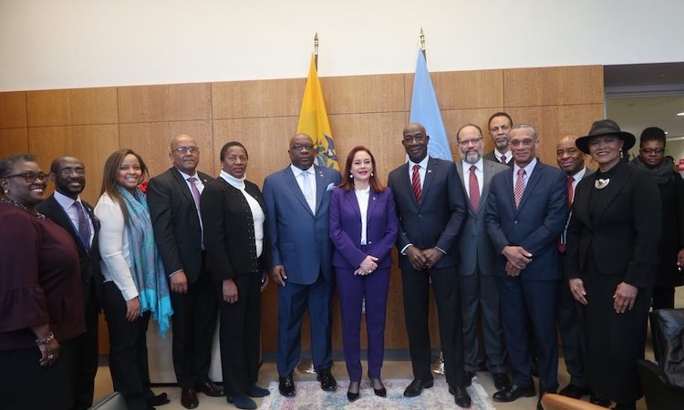Photo: Caribbean Leaders with the UNGA President María Fernanda Espinosa Garcés (centre). Credit: Twitter @UN_PGA