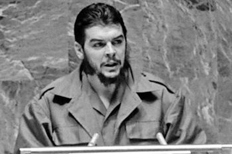 "Photo: Speaking at the UN General Assembly on December 11, 1964 on behalf of Cuba, Argentinean-born Ernesto ""Che"" Guevara responds to questions regarding his accent, affirming he is Cuban and willing to die for the liberation of any Latin American country. Credit: UN"