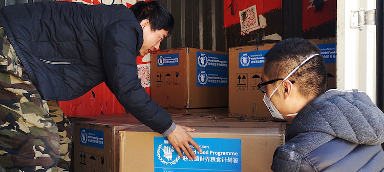 Photo: Medical equipment supplied by the World Food Programme (WFP) arrives in Beijing. Courtesy of Yingshi Zhang
