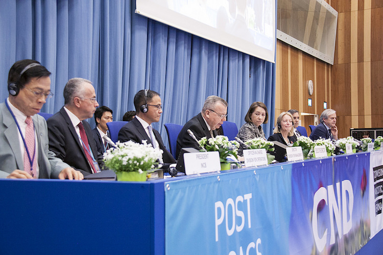 Photo: Opening session of 61st Session of the Commission on Narcotic Drugs on March 12, 2018 in Vienna by UNODC Executive Director Yury Fedotov (fourth from left). Credit: UNODC