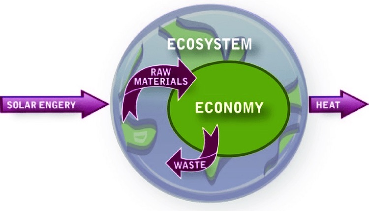 Image: Ecological economics views the economy as a subset of the larger ecological environment. Source: ResearchGate