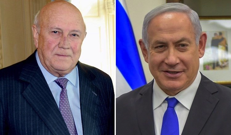 Photo: Images of former South African President F.W. de Klerk (left) and Prime Minister Netanyahu of Israel. Credit: Wikimedia Commons.