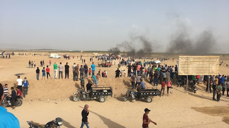 Photo: The 'Great March of Return' demonstrations along Israel's perimeter fence with Gaza took place again on 25 May 2018. Credit: www.ochaopt.org