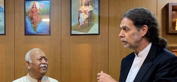 Photo: Walter Lindner (right), German Ambassador to India, with RSS chief Mohan Bhagwat. Credit: OFM