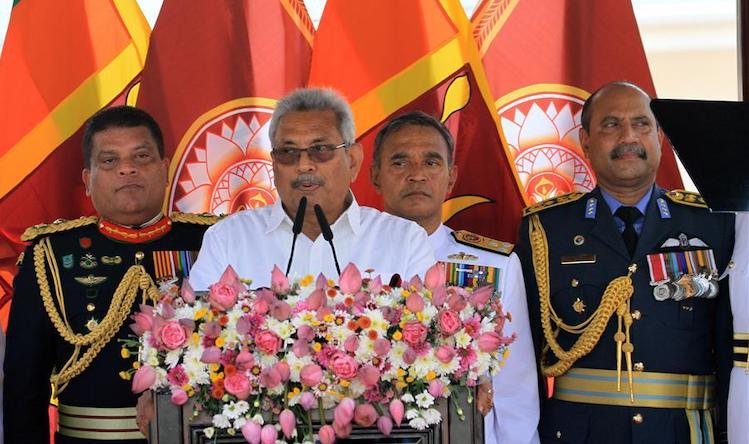 Photo: Sri Lanka's new President Gotabaya Rajapaksa speaks during his first address to the nation in Anuradhapura, in the North Central Province, on 18 November 2019. Source: A. Hapuarachchi | Xinhua.